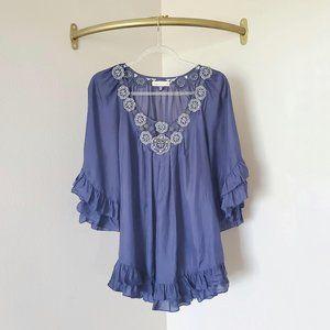 Rebecca Taylor Ruffle Embellished Silk Blouse 6